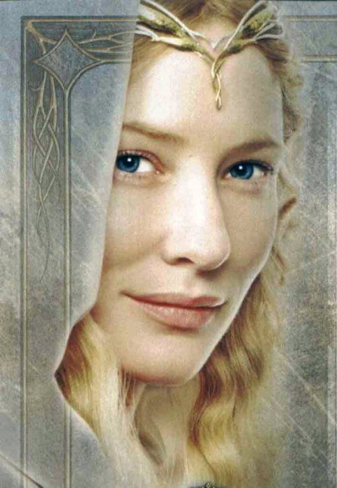 Galadriel, played by Cate Blanchet.  Her voice narrating these movies is absolutely, hauntingly beautiful.