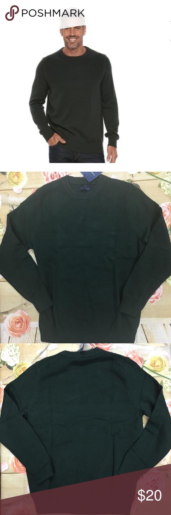 Relist Men S Croft Barrow Textured Yoke Sweater Sweaters Traditional Sleeve Clothes Design [ 1740 x 580 Pixel ]
