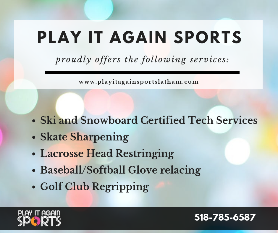 Play It Again Sports Albany Services Skis Snowboards Ice Skates Golf Club Repair And Re Gripping Softball Gloves Sporting Goods Store No Equipment Workout