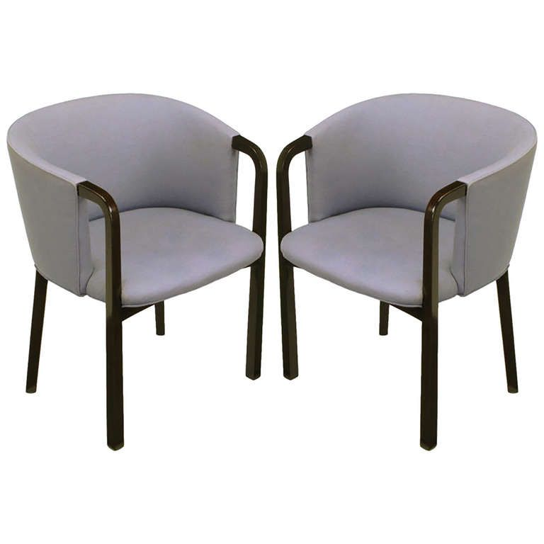 Pair of Edward Wormley Mahogany and Grey Wool Barrel Back Chairs | From a unique collection of antique and modern lounge chairs at https://www.1stdibs.com/furniture/seating/lounge-chairs/