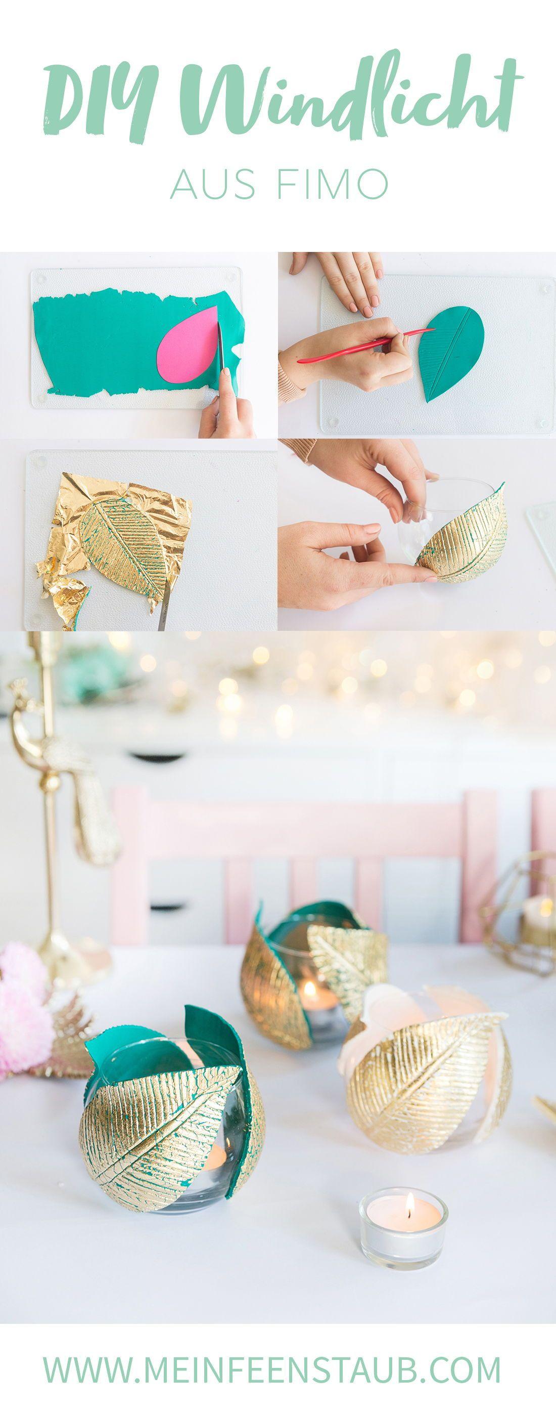 Diy: Windlicht Mit Fimo-Blättern & Blattgold DIY: Windlicht mit FIMO-Blättern & Blattgold Makeup Diy Crafts makeup diy crafts