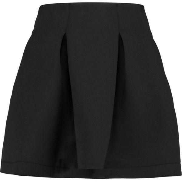 Zoe Karssen Pleated neoprene mini skirt ($98) ❤ liked on Polyvore featuring skirts, mini skirts, black, short pleated skirt, pleated mini skirt, pleated skirt, short skirts and pleated miniskirt
