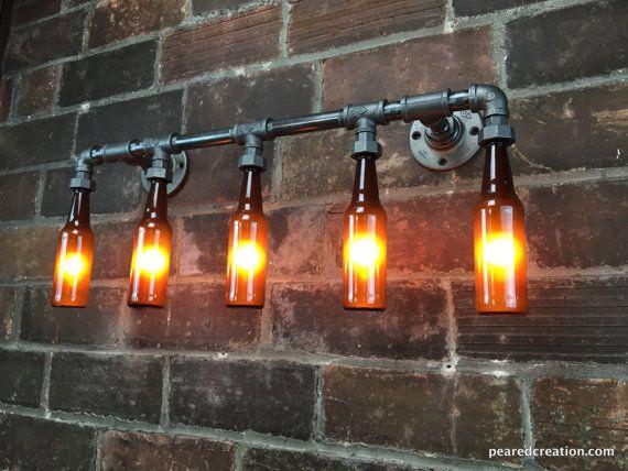 badezimmer vanity light industrielle m bel von newwineoldbottles lampen in 2018 pinterest. Black Bedroom Furniture Sets. Home Design Ideas