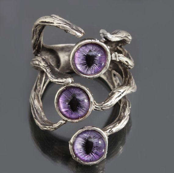 Dragon Eye Ring Evil Eye Ring Silver Branch Ring by DesignsBloom