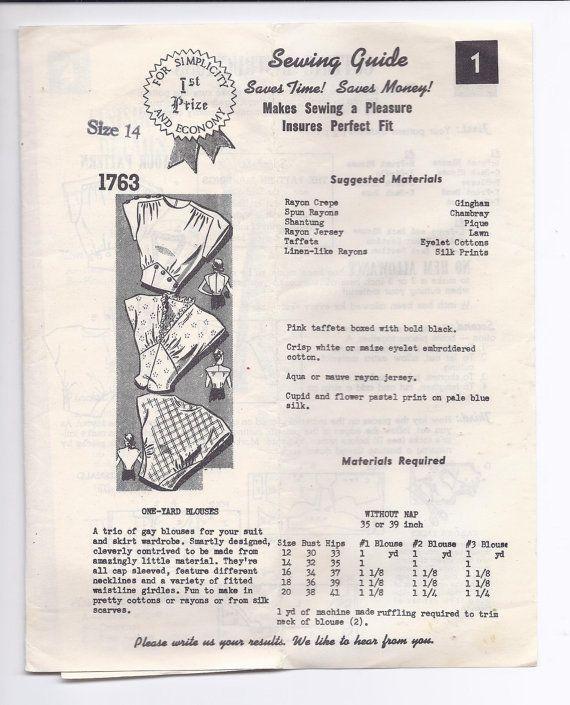 Pedido por correo de la década de 1940 de patrón femenino una yarda ...