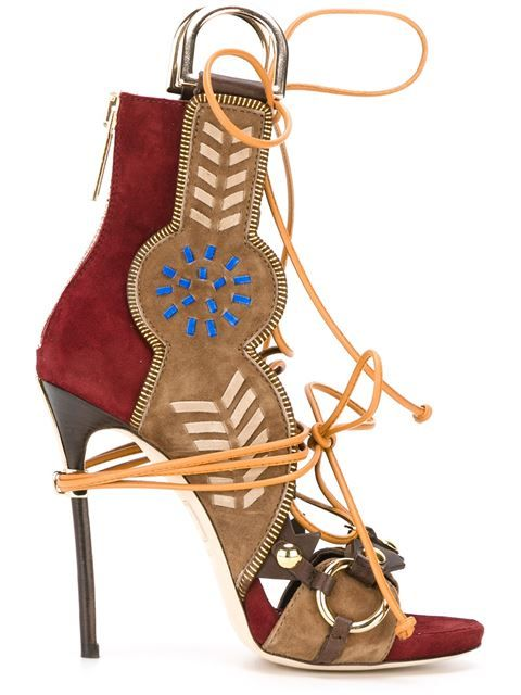 DSquared2's Bordeaux and Beige Suede and Leather Lace Up Sandals