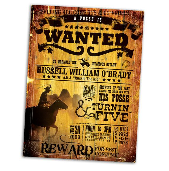 Wanted Poster Birthday Invitation $4500, via Etsy Party - examples of wanted posters
