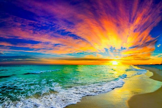 Sunset With Sea Wave Tap To See More Breathtaking Beach: Colorful Orange Ocean Sunset With