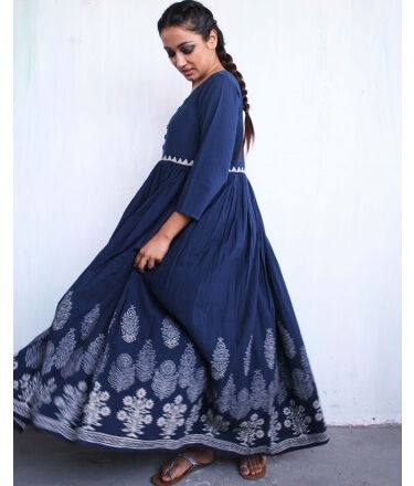 Blue Block-printed Cotton Dress with Gathers