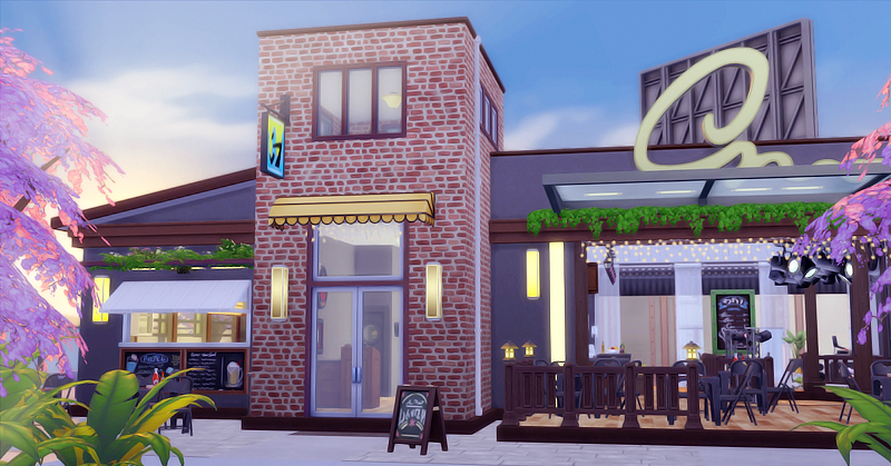 Altitude Bar Amp Restaurant X2f X2f Cc Free Size 30x20 Lot Type Restaurant Available For Download On The Ga The Sims 4 Lots Sims House Sims 4 Houses