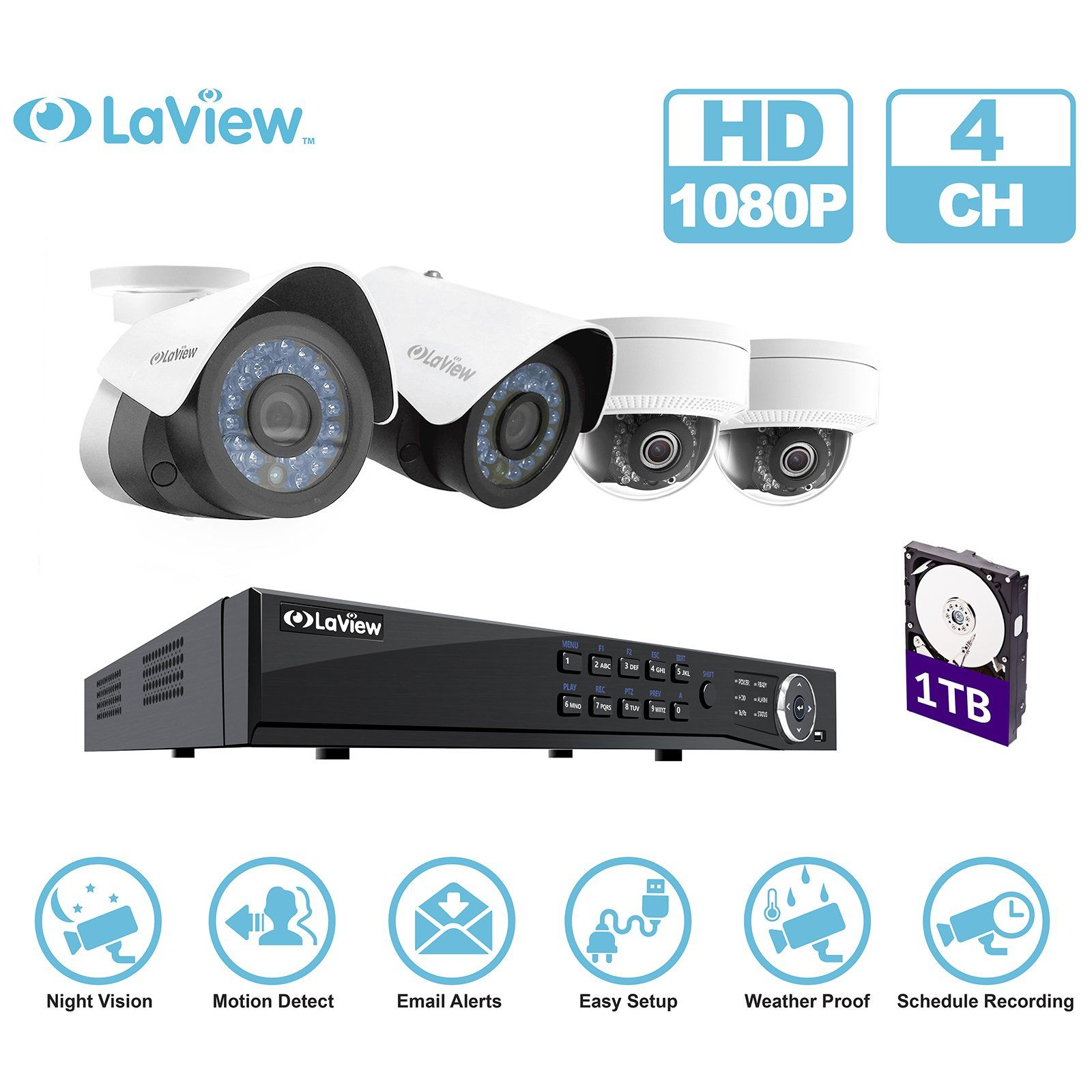 LaView IP P HD Builtin PoE Cameras Channel NVR Security