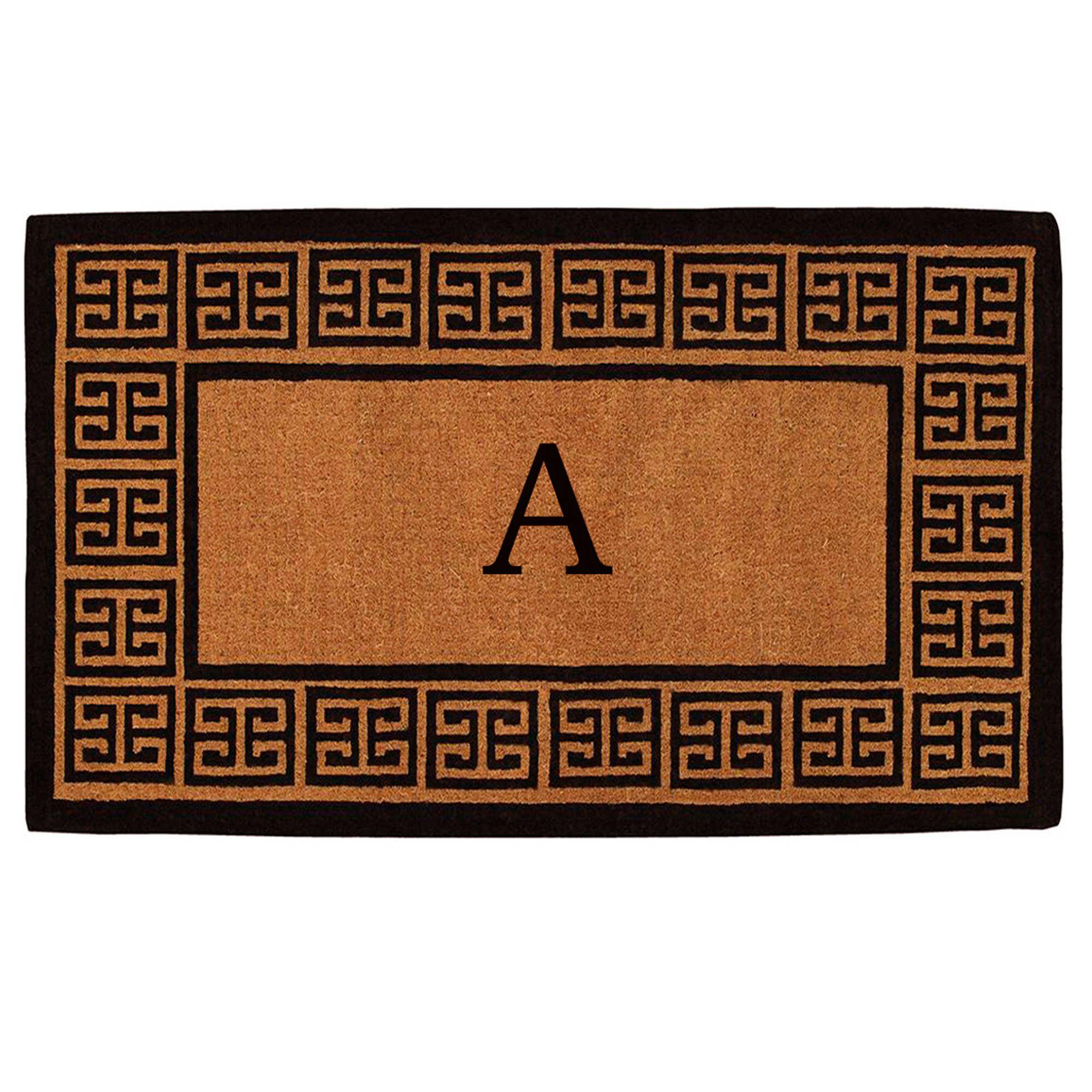 Home More Grecian Monogrammed Initial 36 Inch X 72 Inch Thick Door Mat In Natural Outdoor Door Mat Door Mat Monogram Door Mat