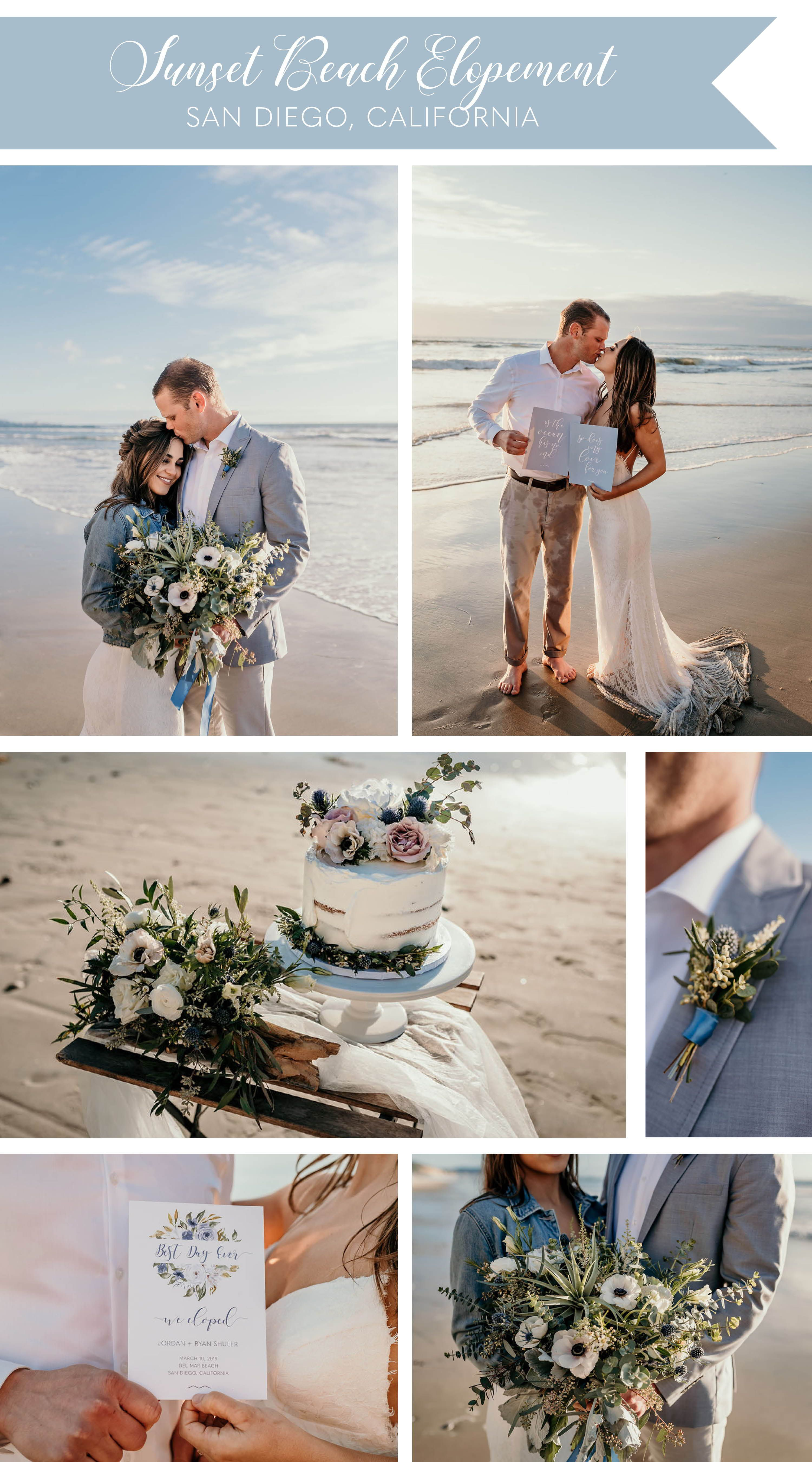 Sunset Beach Elopement with Dusty Blue Invitations and