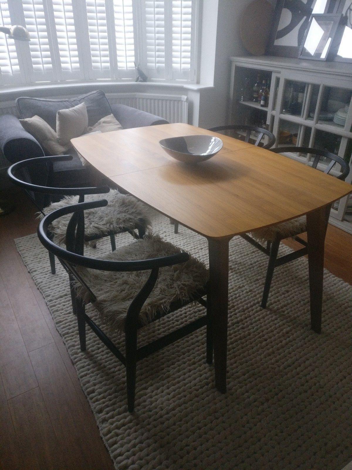 Dwell Circa Compact Extending Walnut Veneer Mid Century Style Dining Table Ebay