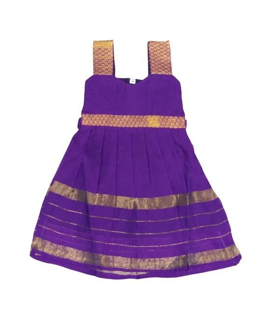 4526e519d96cfe Pattu Pavadai Raw Silk Cotton Frock Violet for Baby Girls - 6 Months ...