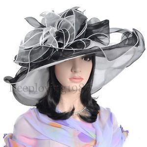 Women s Kentucky Derby Church Bridal Wedding Organza Hat Wide Brim Sunhat &-us | eBay