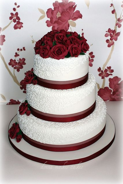 Ivory and Burgundy Roses Wedding Cake by donna_makes_cakes ...