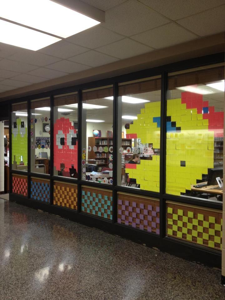 Mrs. Pac Man Post It Note Art. Library Windows