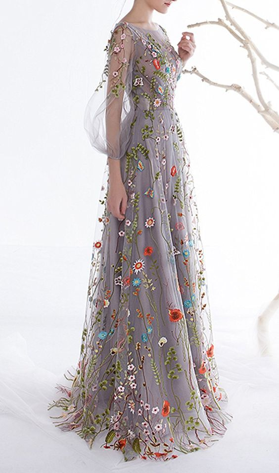 Pretty Floral Embroidery Prom Dresses,Elegant Long Sleeves Evening Dresses,Charming A-line Floor Length Evening Dresses.LS1164 1
