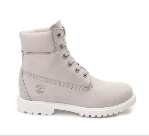 """Timberland Premium boots. Leather upper Almond closed-toe lace-up booties 1-1/4"""" heel Man-made sole Imported Color:Light Gray"""