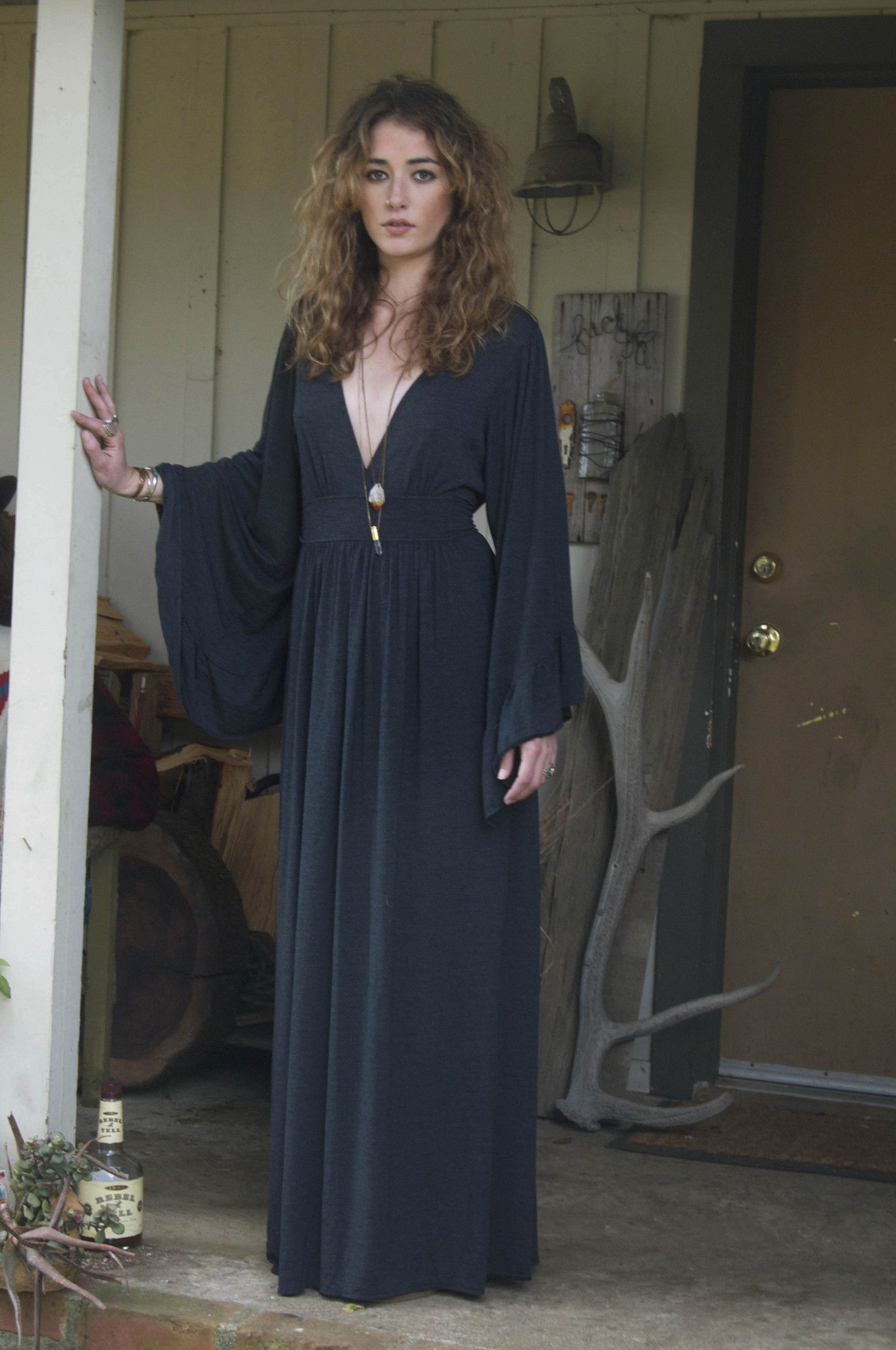 Charcoal bell sleeve maxi idylwildwoods witchy style pinterest