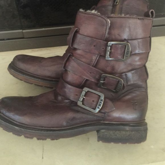 Womens frye boots size 8 Brown women's Frye boots size 8 excellent condition so warm fully line with beautiful fur brown buckles on the outside zipper on the inside don't miss out on these! Frye Shoes Ankle Boots & Booties