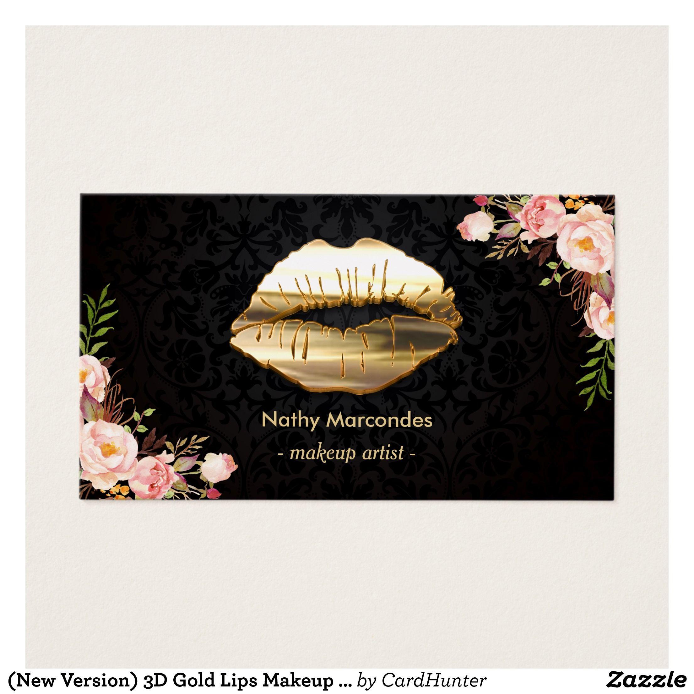 Stunning Gold Lips Makeup Artist Floral Business Card