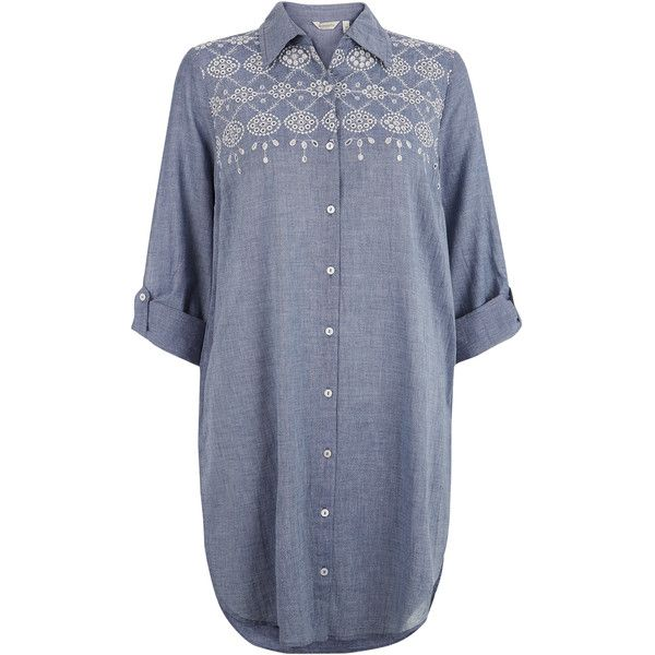 9067d76996a Monsoon Mila Cutwork Chambray Shirt Dress ( 53) ❤ liked on Polyvore ...