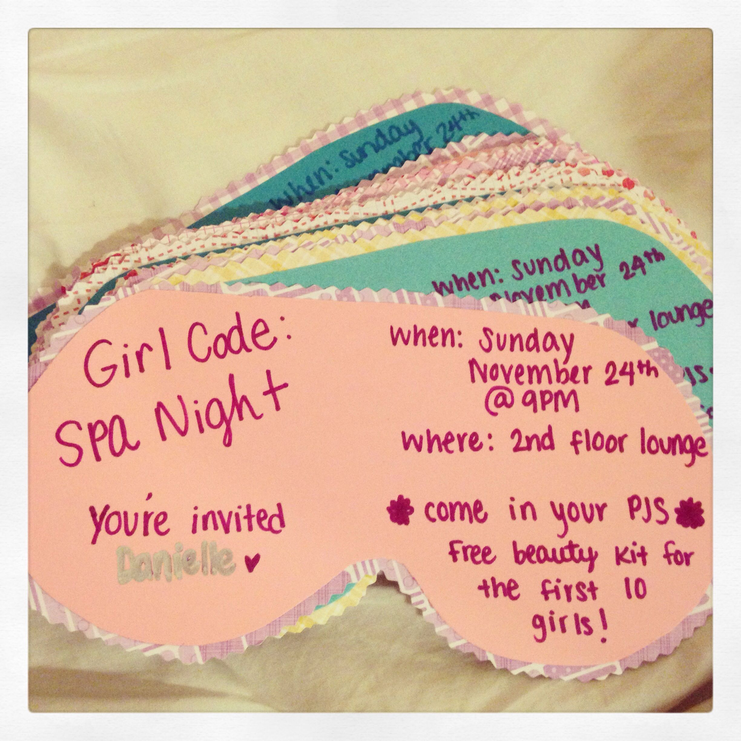 Girl Code Spa Night Program Invitations Posted These On My
