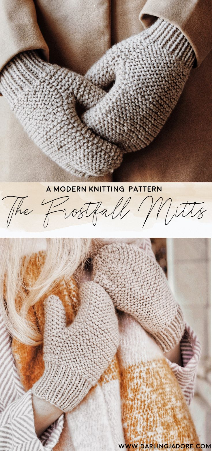 Easy Knit Mittens Knitting Pattern by Darling Jadore | THE FROSTFALL MITTS #knittingprojects