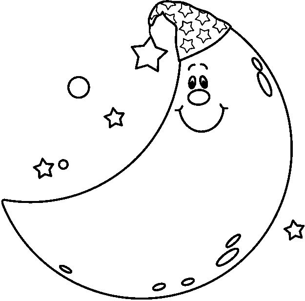 Moon Clipart Coloring Page Clipart Stars Moons Amp Suns