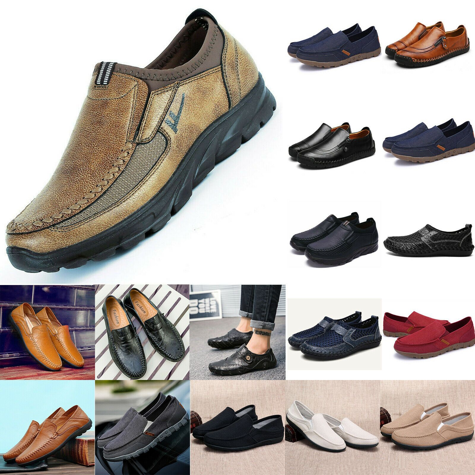 Men/'s Slip On Leather Casual Driving Shoes Loafers Moccasins Trainers Fashion