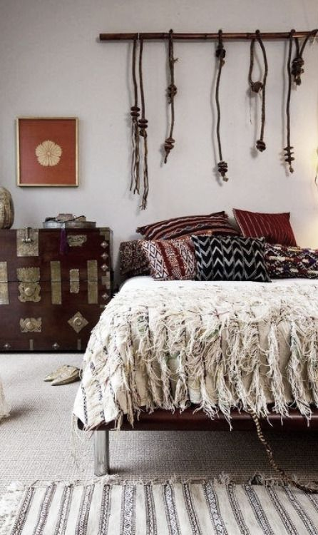 Vintage Moroccan:  Berber Kilim Pillows, Wedding Quilt. Gorgeous! #Type3 #bohemian #bedroom #Decorate #DYT #Decorating