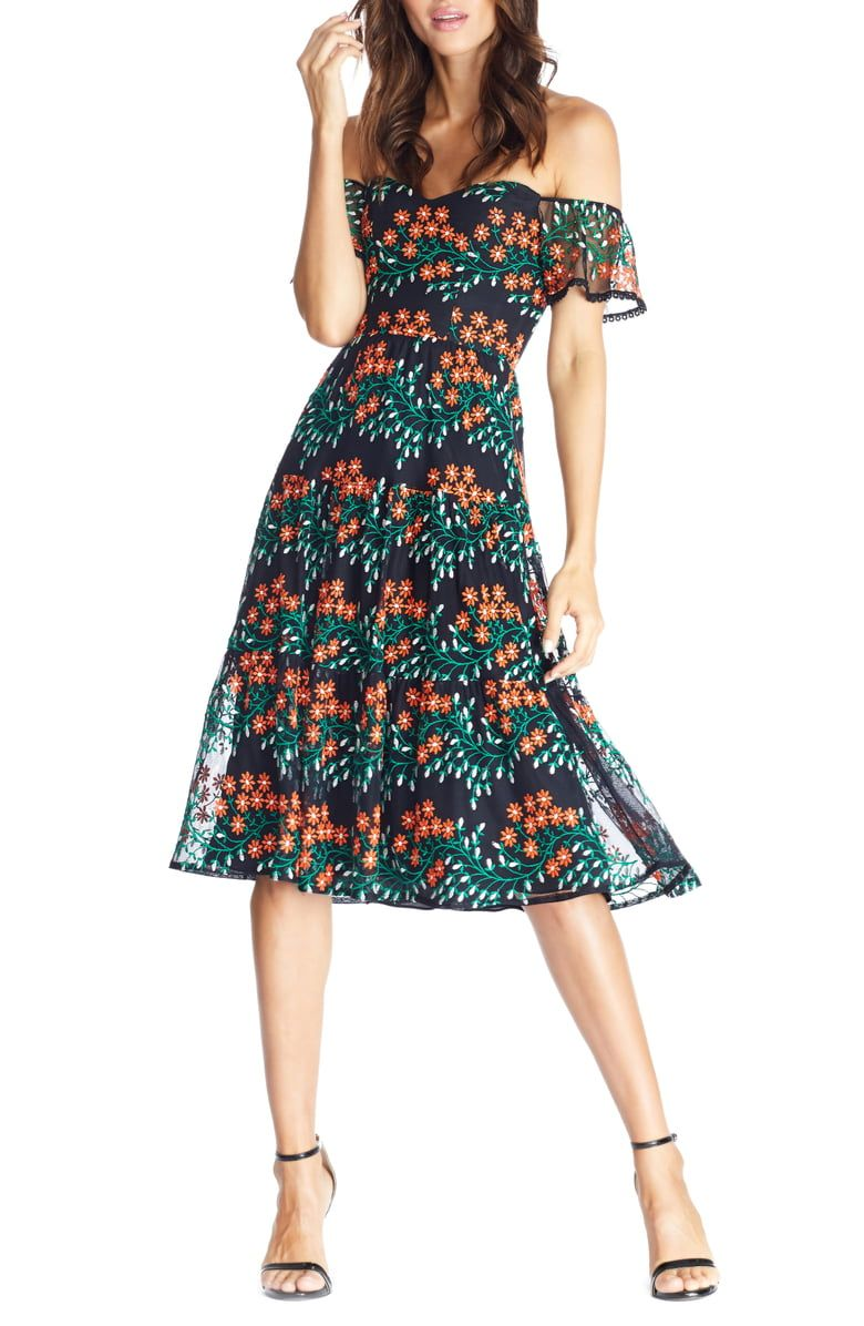 Dress The Population River Embroidered Off The Shoulder Midi Dress Nordstrom In 2020 Dress The Population Long Sleeve Lace Dress Fashion Clothes Women