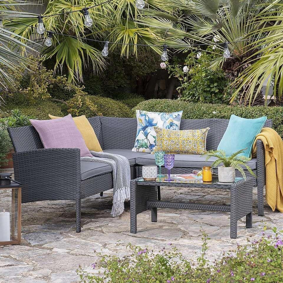 Nevada Grey Rattan Corner Sofa Set  Dunelm #sofaset  Rattan