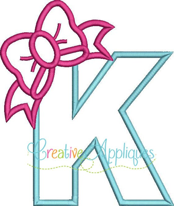 Bow Letter K Applique Machine Embroidery Design 4 Sizes Bow Letter