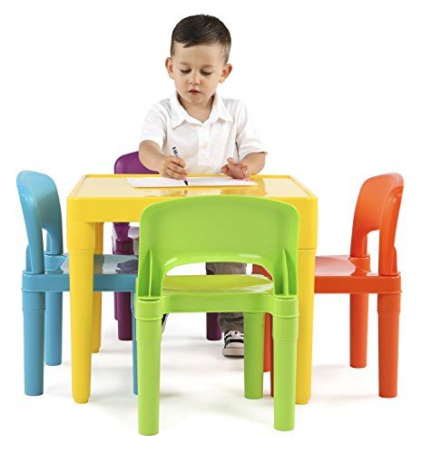 Tot Tutors Kids Plastic Table And 4 Chairs Set Vibrant Colors Kids Table And Chairs Plastic Tables Small Table And Chairs