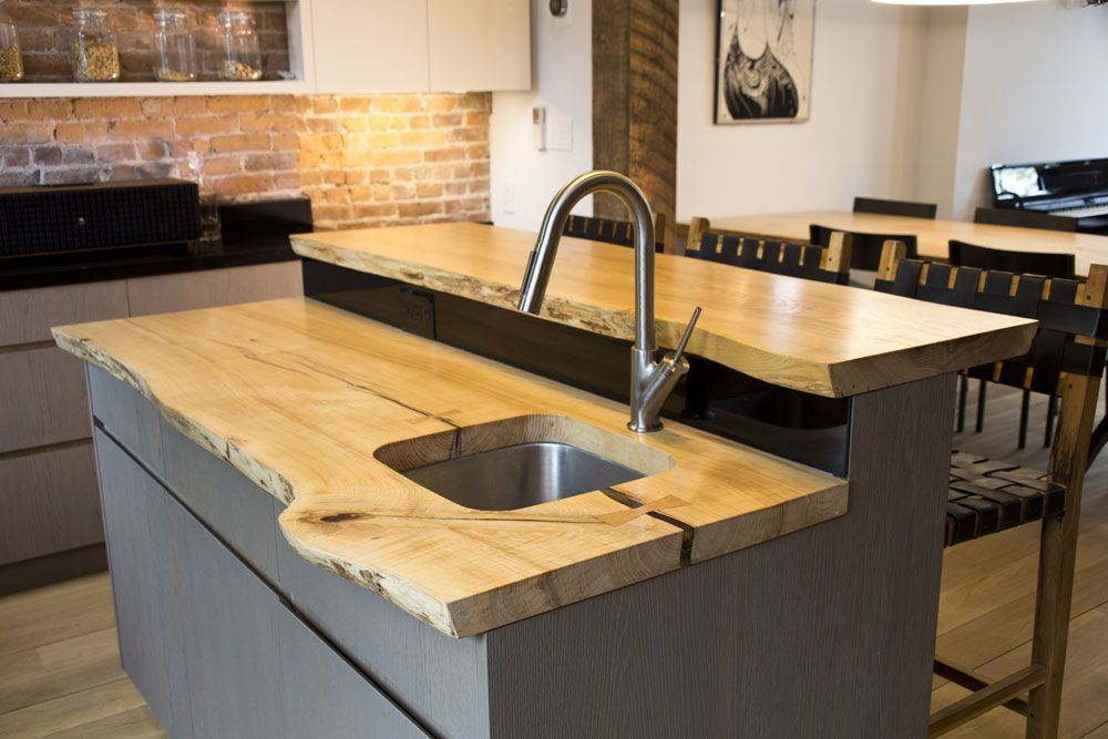 Ash Slab Kitchen Counter And Island Built By Reco Bklyn Wood