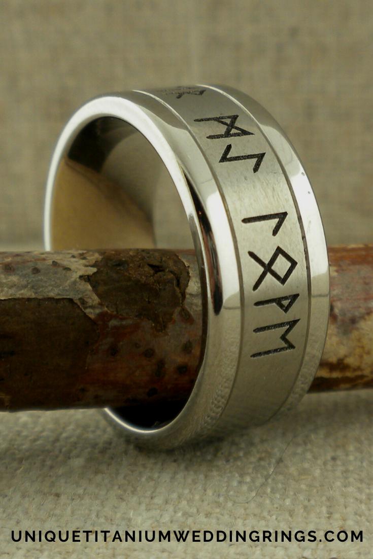 Custom Rune Wedding Ring In Titanium Unique Titanium Wedding Rings In 2020 Titanium Wedding Rings Titanium Wedding Wedding Rings