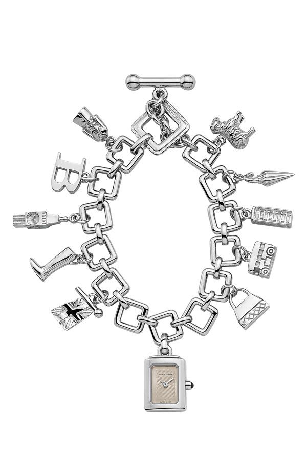 Authentic Burberry Silver Charm Bracelet Watch With British Icon Charms