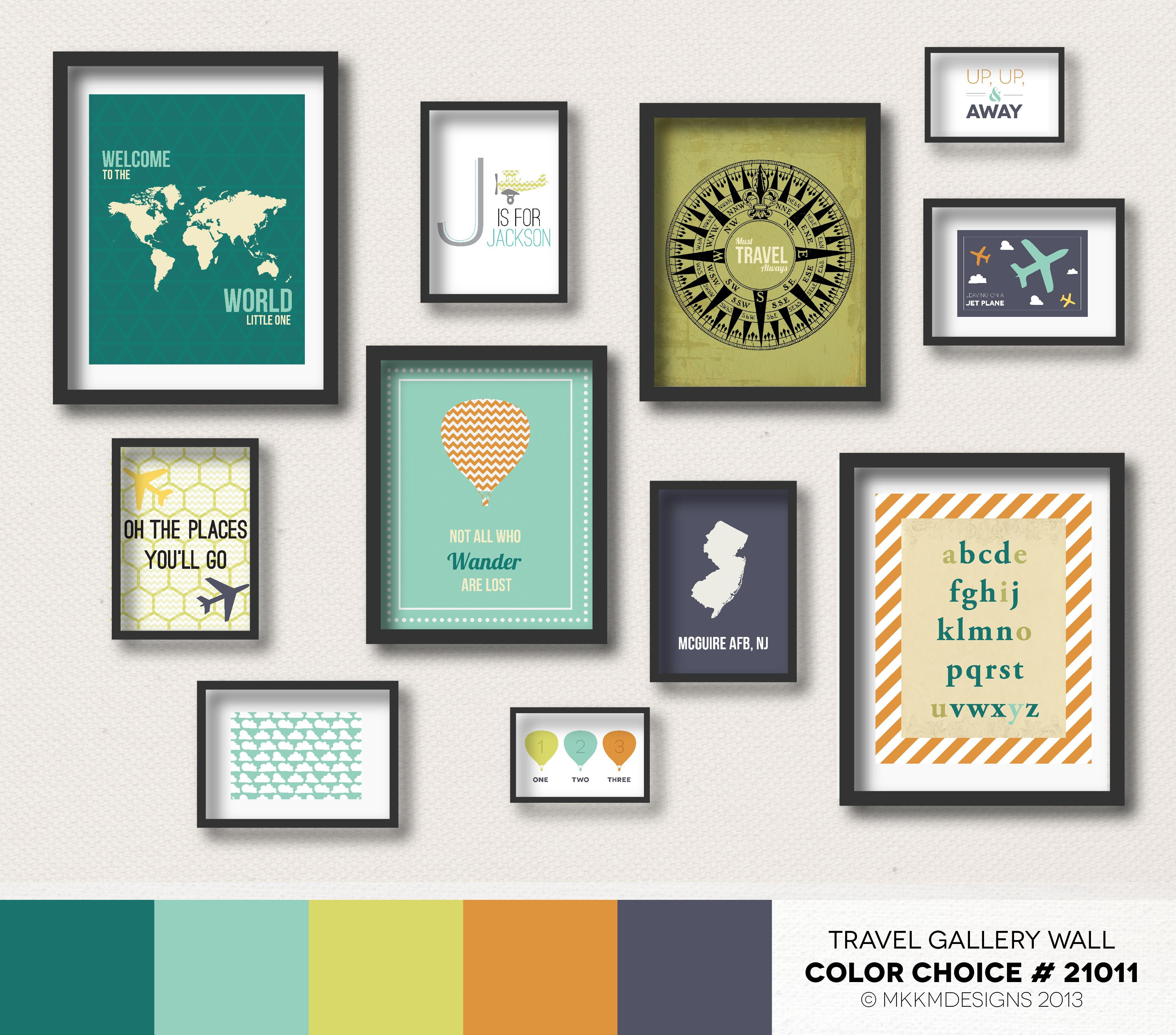 Travel Nursery Gallery Wall  Color Choice #21011 - Teals,