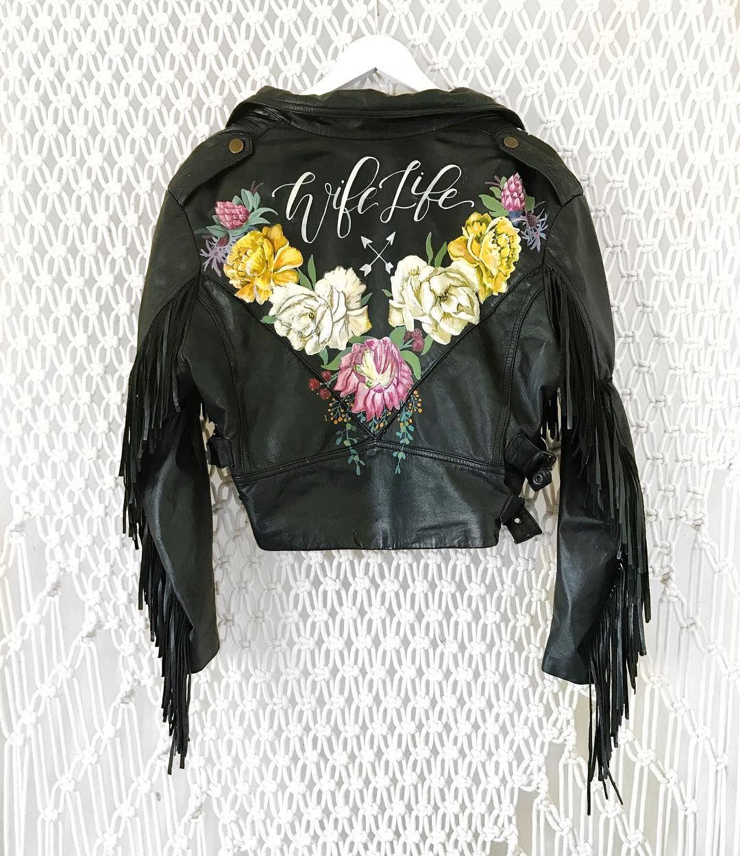 hand painted leather wedding jacket/ brides leather jacket
