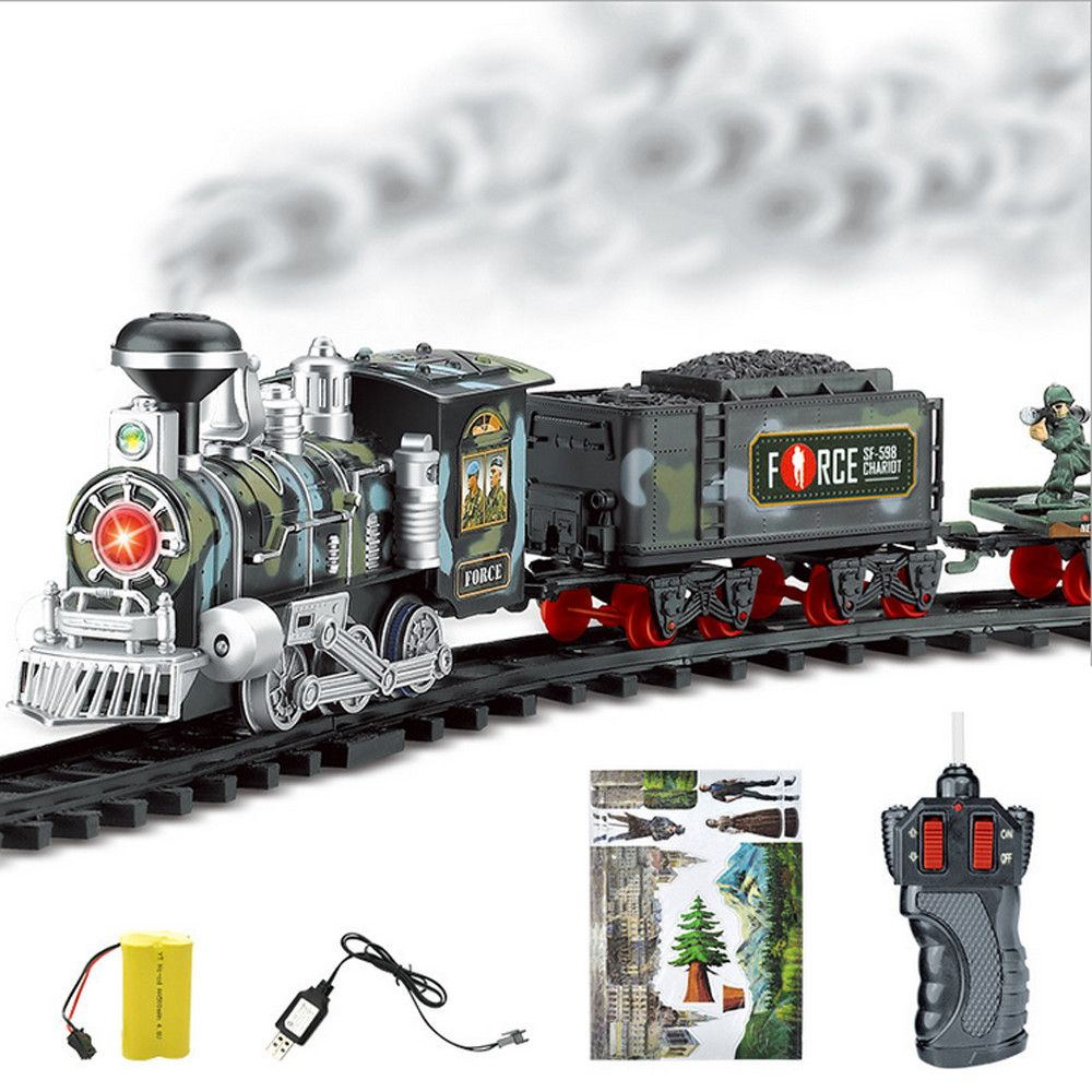 Electric Steam RC Track Train Set Simulation Model Toy for Children Rechargeable Remote Control Toy Set Birthday Christmas New Year Gift for boy