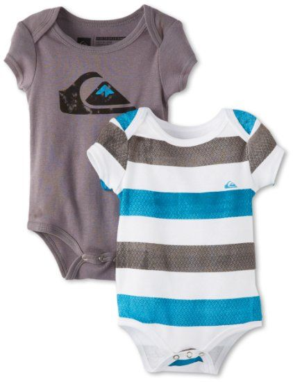 96f56d8937 Amazon.com: Quiksilver Baby-Boys Newborn Signature, Grey/Blue, 0-3 ...