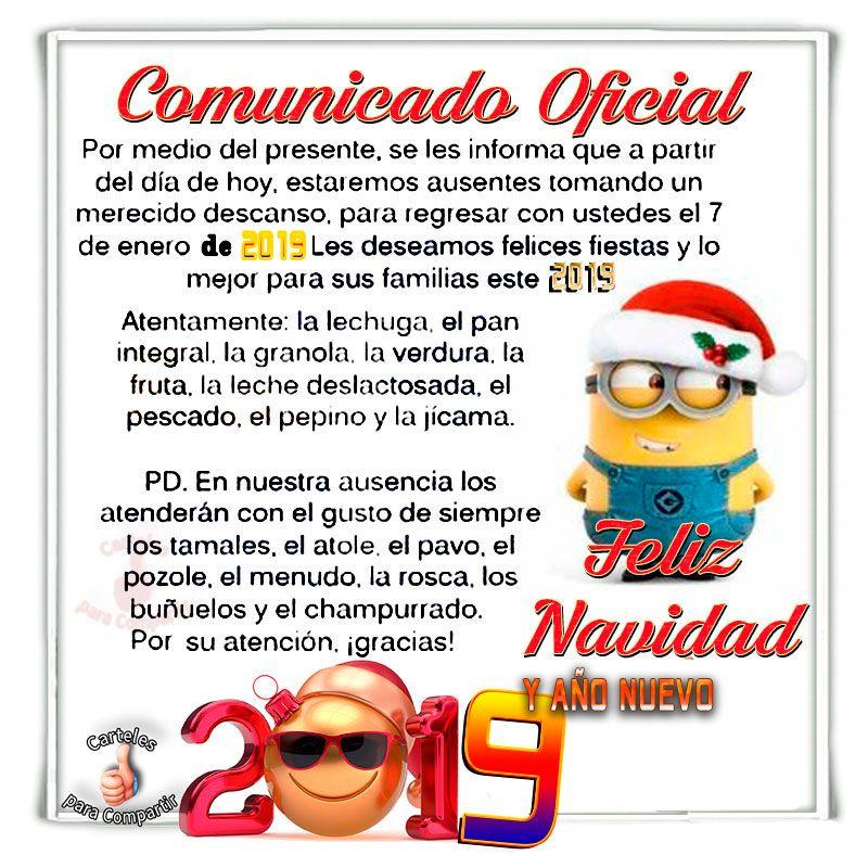 Frases Para Navidad Y Ano Nuevo Graciosas.Comunicado Oficial De Navidad Semana Feliz Navidad