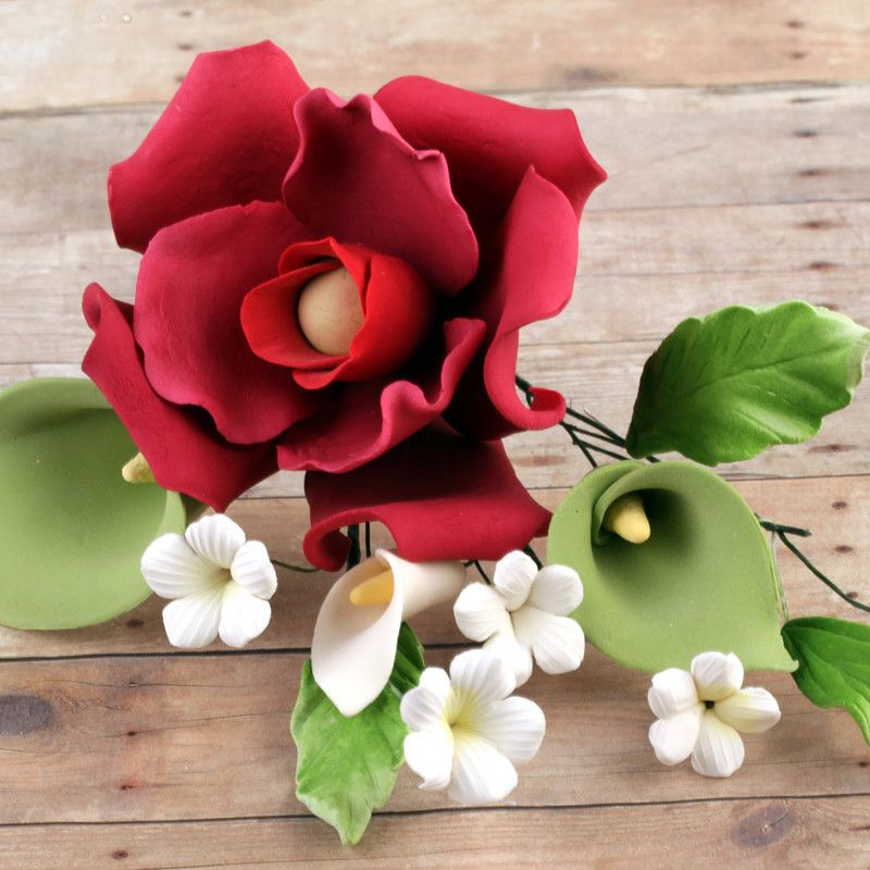 Magenta Rose Green Calla Lily Sprays Brg 2 Calla Lily Magenta Rose Sugar Paste Flowers