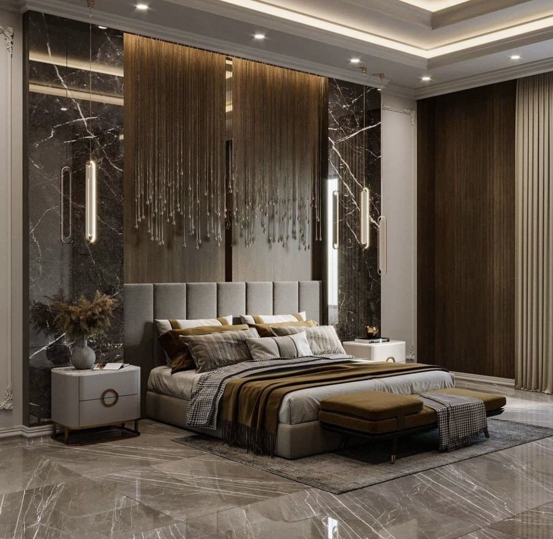 Elegant Taupe Grey And Gold Modern Bedroom Decor With Channel Tufted Bed An In 2021 Bedroom Interior Design Luxury Luxury Master Bedroom Design Master Bedroom Interior Elegant luxury room design