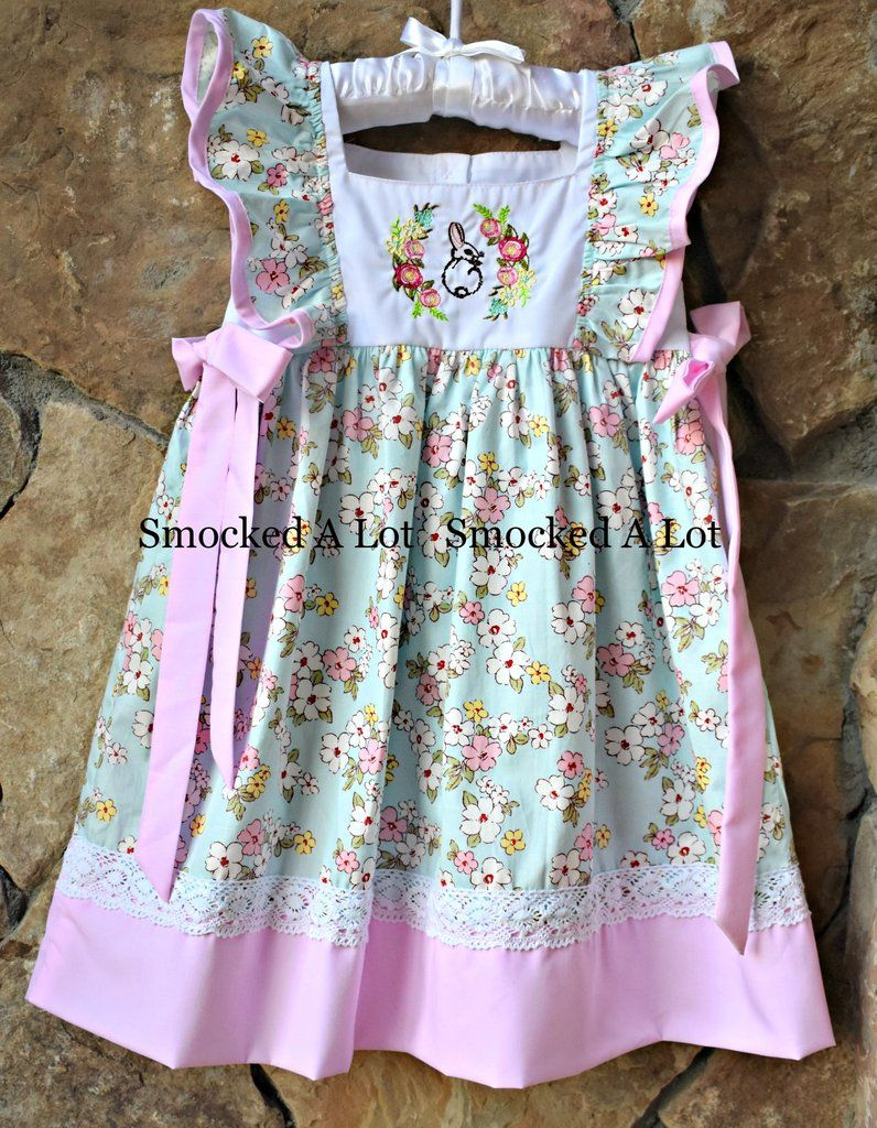 4d5e757e92035 Floral Easter Bunny Dress with lace   Sweet girls dresses and ...
