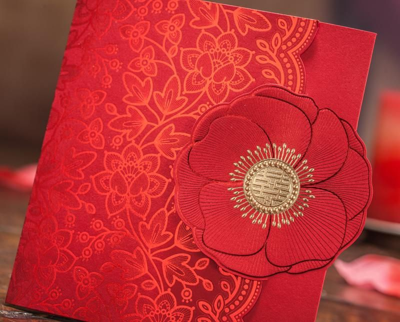 2016 Asian Wedding Invitation Red Double Happiness Flower Embossed