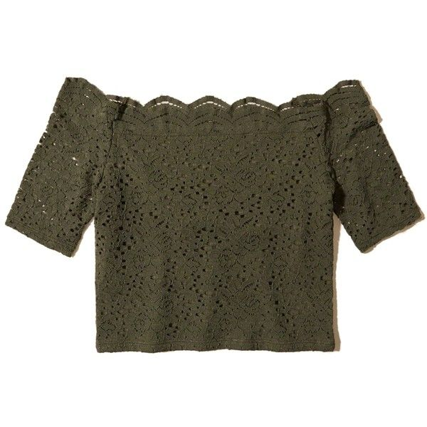 Hollister Off-The-Shoulder Lace Crop Top ($9.98) ❤ liked on Polyvore featuring tops, shirts, crop top, olive lace, olive green crop top, lace shirt, off the shoulder crop top, shirt crop top and crop shirt